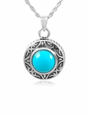 Turquoise Round Sterling Silver Cremation Jewelry Pendant Necklace