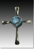 Turquoise Symphony Cross Cremains Encased in Glass Sterling Silver Cremation Jewelry Pendant