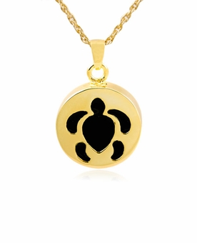 Turtle Gold Vermeil Cremation Jewelry Pendant Necklace