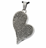 Two Fingerprints Teardrop Heart Stainless Steel Memorial Cremation Pendant Necklace
