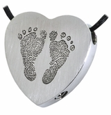Two Footprints Heart Slider Stainless Steel Memorial Cremation Pendant Necklace