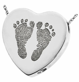 Two Footprints Heart Slider Sterling Silver Memorial Cremation Pendant Necklace