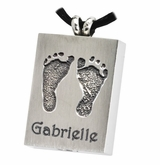 Two Footprints Rectangle Stainless Steel Memorial Cremation Pendant Necklace
