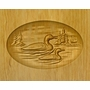 Two Loons Relief Carved Engraved Wood Cremation Urn