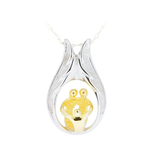 Sterling Silver Family With One Child Pendant