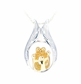 Two Parents Three Children Family Sterling Silver with Gold Cremation Jewelry Pendant Necklace