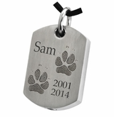 Two Pawprints Dog Tag Stainless Steel Memorial Pet Cremation Jewelry Pendant Necklace