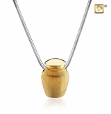 Urn Two Tone Gold Vermeil Cremation Jewelry Pendant Necklace