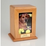 Vertical Large Inset Photo Pet Oak Wood Cremation Urn