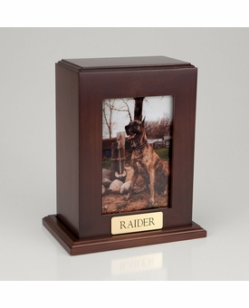 Vertical Large Inset Photo Pet Walnut Wood Cremation Urn