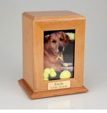 Vertical Medium Inset Photo Pet Oak Wood Cremation Urn