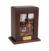 Vertical Medium Inset Photo Pet Walnut Wood Cremation Urn
