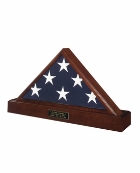 Veteran Flag Display Case and Pedestal Cremation Urn Package with Dark Cherry Finish