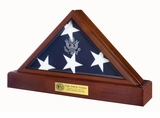 Vice Presidential Flag Display Case and Pedestal Cremation Urn with Dark Cherry Finish