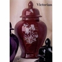 Victorian Red Iris Ceramic Cremation Urn