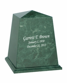 Viewpoint Green Marble Engravable Cremation Urn