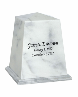 Viewpoint White Marble Engravable Cremation Urn