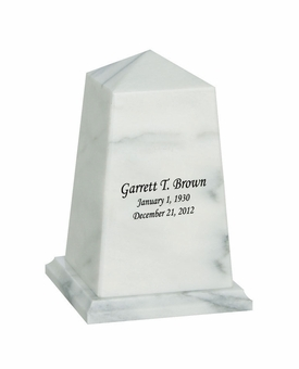 Viewpoint Youth White Marble Engravable Cremation Urn