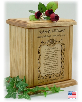 Vines With Recessed Poem Engraved Wood Cremation Urn