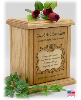 Vines With Recessed Small Poem Engraved Wood Cremation Urn