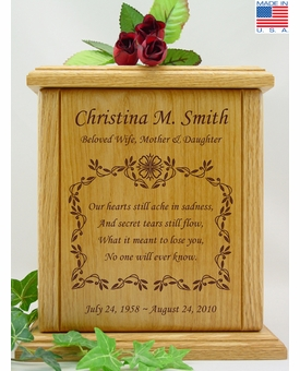 Vines With Small Poem Engraved Wood Cremation Urn