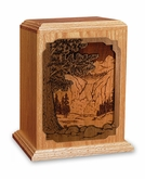 Waterfall Dimensional Wood Cremation Urn - Engravable