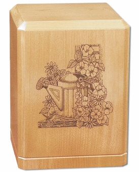 Watering Can Classic Maple Wood Cremation Urn