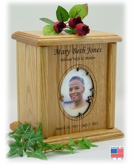 Wavy Oval Photo Insert Engraved Wood Cremation Urn