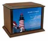 West Quoddy Head Light Eternal Reflections Wood Cremation Urn - 3 Sizes