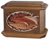 Whales with 3D Inlay Walnut Wood Octagon Cremation Urn