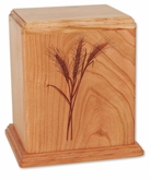 Wheat Cherry Wood Newport Laser Carved Cremation Urn
