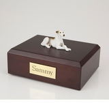 White Brindle Greyhound Dog Figurine Pet Cremation Urn - 4021