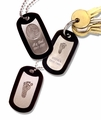 White Bronze Dog Tag Key Chain With Thumbies Print And Engraving