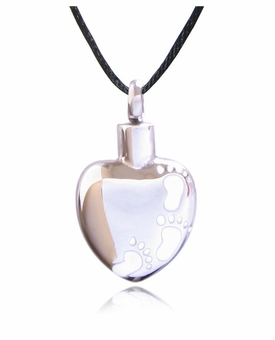 White Footprints Heart Stainless Steel Cremation Jewelry Pendant Necklace