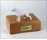White German Shepherd Dog Figurine Pet Cremation Urn - 716