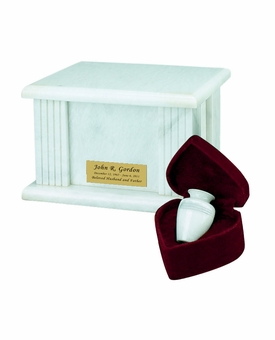 White Grain Marble Acropolis Cremation Urn