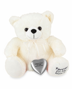 White Huggable Heart Teddy Bear Cremation Urn