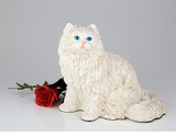 White Longhair Cat Hollow Figurine Pet Cremation Urn - 2709