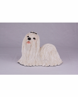 White Maltese Hollow Figurine Pet Cremation Urn - 2756