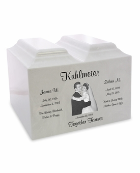 White Marble Companion Niche Cremation Urn Vault with Engraved Photo