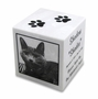 White Marble Cube Pet Cremation Urn with Engraved Photo