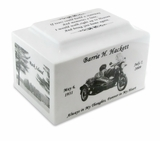 White Marble Keepsake Cremation Urn with Engraved Photo