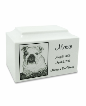 White Marble Small Pet Cremation Urn with Engraved Photo