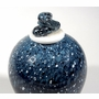 White Over Colbalt Blue Hand Blown Cremation Urn