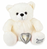 White Paw Print Heart Teddy Bear Pet Cremation Urn
