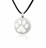 White Paw Print Stainless Steel Pet Cremation Jewelry Pendant Necklace