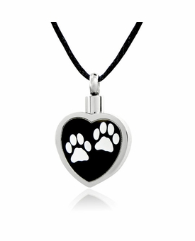 White Paw Prints on Black Stainless Steel Pet Cremation Jewelry Pendant Necklace