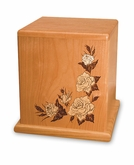 White Rose Mosaic Inlay Cherry Cremation Urn - Engravable