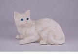 White Shorthair Cat Hollow Figurine Pet Cremation Urn - 2703