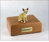 White Tan Chihuahua Dog Figurine Pet Cremation Urn - 1104